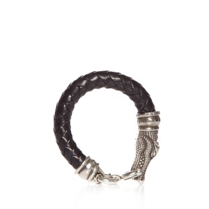 Barry Kieselstein-Cord Black Braided Leather Crocodile Head Bracelet