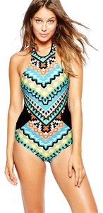 SeaFolly Seafolly Kasbah High Neck Maillot Nectarine Swimsuit AU 12