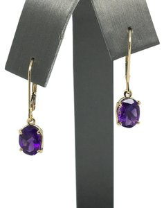 Other 14K Yellow Gold Natural Amerhyst Leverback Dangling Earrings