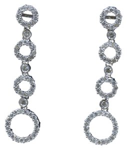 Dignity Jewels 18k White Gold And Diamond Dangling Earring Round Shape Diamond-1.37ct