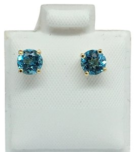 Other 14K Yellow Gold Natural Blue Topaz Stud Earrings