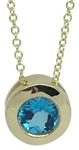 Other 14K Solid Yellow Gold Bezel Natural Blue Topaz Pendant