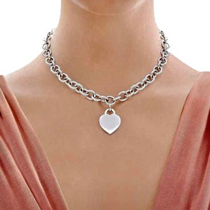 Tiffany & Co. BEAUTIFUL Tiffany & Co. Heart Tag Necklace Sterling Silver 16