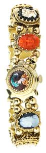 Piaget * Antique Victorian Gold Cameo Charms Bracelet Watch