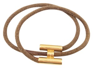 Hermès Authentic Hermes Gold Plated H Leather Double Bracelet