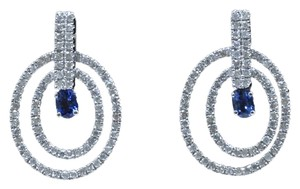 Dignity Jewels 18K White Gold And Sapphire Earring Round Shape Diamond-0.80ct