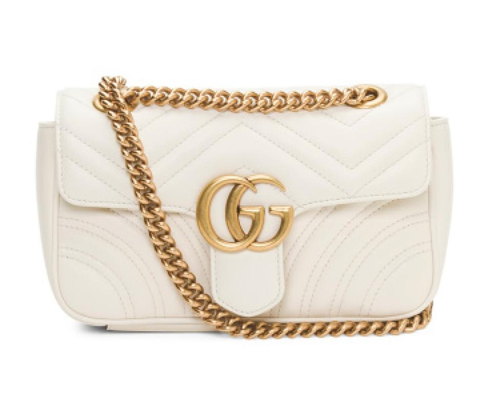 6de2d659f7aa Gucci Marmont New Gg Small Matelasse Natural White Leather Shoulder ...