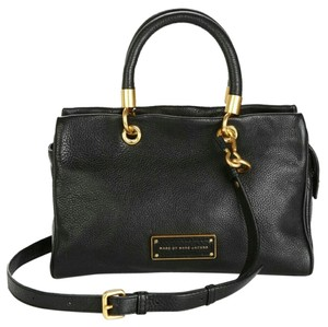 Marc Jacobs Leather Gold Satchel in Black