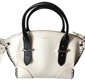 Alexander McQueen Whipstitched White Calfskin Leather Crossbody Satchel in White/Black