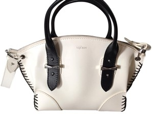 Alexander McQueen Whipstitched Calfskin Leather Crossbody Satchel in White/Black