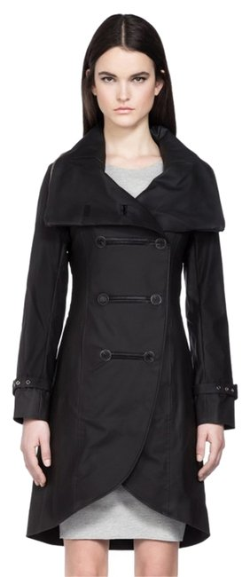 Item - Black Leather Trim Double Breasted Trench with Hood Coat Size 2 (XS)