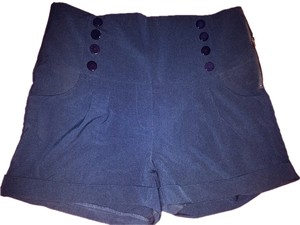 Bettie Page Vintage Stretchy Plus-size Shorts Navy
