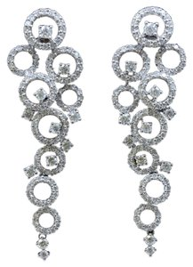 Dignity Jewels 18K White Gold And Diamond Dangling Earring Round Shape Diamond-3.39ct