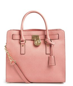 Michael Kors Leather Satchel Hamilton Tote in Pale Pink
