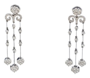 Dignity Jewels 18K White Gold And Diamond Dangling Earring Round Shape Diamond-2.80ct