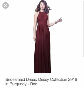 Dessy Burgundy 2918 Formal Bridesmaid/Mob Dress Size 0 (XS)