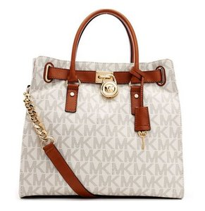 Michael Kors Leather Tote in VANILLA Logo gold