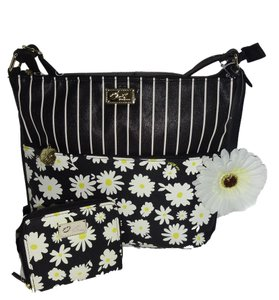 Betsey Johnson Matching Wallet Striped Daisy Print Cross Body Bag