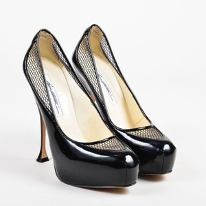 Brian Atwood Patent Leather Mesh Stack Heels Black Pumps