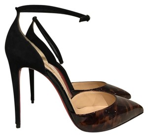 Christian Louboutin Uptown Stiletto Patent Ankle Ankle Strap black Pumps