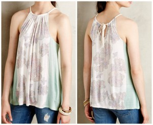 Anthropologie Deletta Silk Rayon Soft Boho Top mint, white, pink