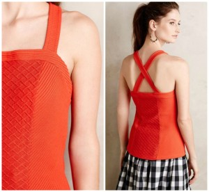 Anthropologie Deletta Stretch Crisscross Textured Top red