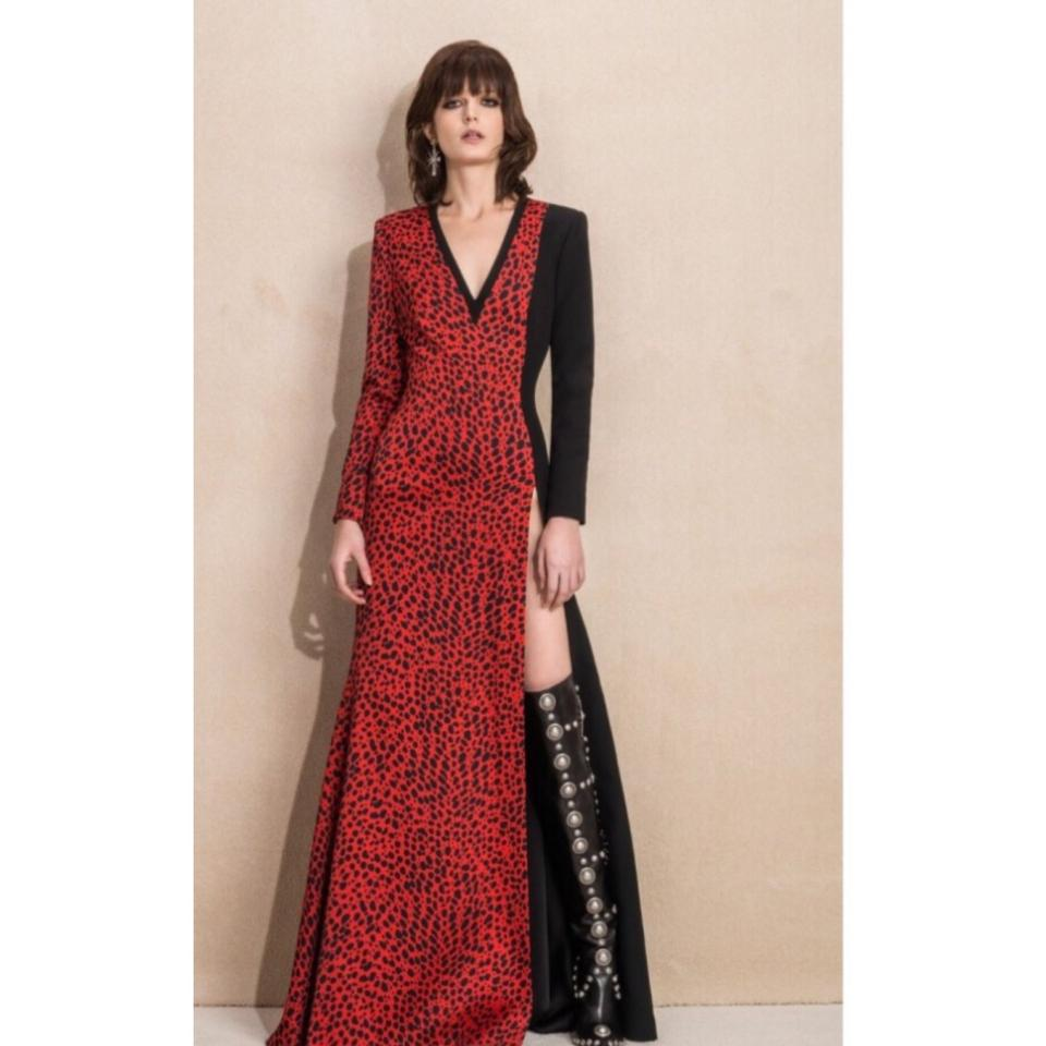 Fausto Puglisi Black Red Sleeve V Neck Gown Leopard Print Long