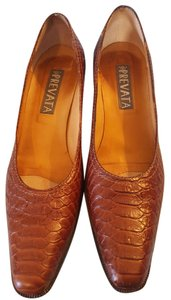 Prevata Leather Upper Leather Lining Alligator Brown Pumps