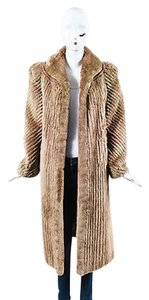 Other Tan Sheared Fur Ombre Full Length Long Sleeve Coat
