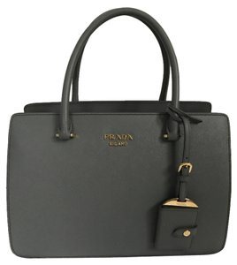 Prada Leather Lock Tote in Gray