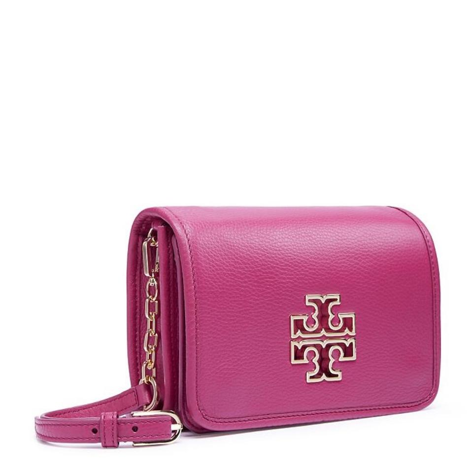 fc18948e6d4 Tory Burch Britten Combo Crossbody Raspberry Red Pink Leather ...