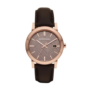 Burberry Men's The City Swiss Rose Gold Tone Brown Leather Watch BU9013