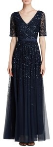 Adrianna Papell Beaded Sequin Mesh V-neck Evening Dress