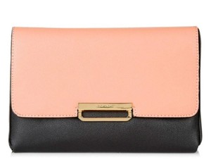 Topshop Colorblock Blush Gold Pop Of Color Pink, Black Clutch