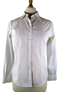 Brooks Brothers Fitted Career Work Button Down Shirt Black White