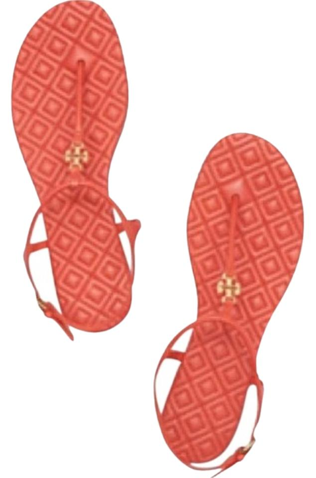 f6e9e2f6adb1 Tory Burch Orange Marion T Quilted Strap Poppy Coral Leather Gold Logo  Sandals. Size  US 8.5 Regular (M ...