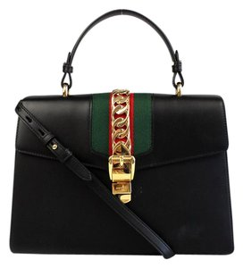Gucci Top Handle Leather Satchel in Black