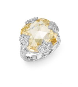 Judith Ripka Judith Ripka Fleur Cushion-Cut Sterling Silver Ring