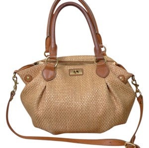 J.Crew Straw Leather Satchel in Brown