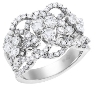 Other 2.31 Carat Natural Diamond Wave Floral Cocktail Ring In Solid 18k