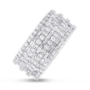 Other 5.16 Carat Natural Diamond Baguette & Round Wide Eternity Band Ring 18