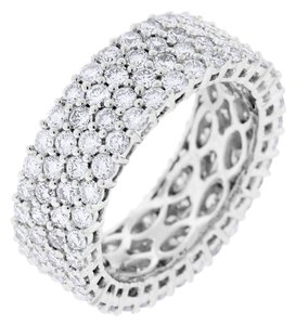 Other 3.52 Carat Natural Diamond 4 Row Prong Set Wide Eternity Band In Solid