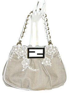 Fendi Linen Leather Shoulder Bag