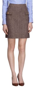 Brooks Brothers Fleece Tweed Herringbone Pencil Mini Skirt