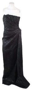 Pamela Rowland Brocade Strapless Formal Gown Ponte Dress