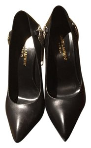 Saint Laurent Peep Toe Lambskin Leather black Pumps