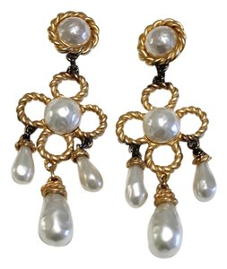 Chanel HUGH Chandelier Pearl & Gold Tone Earrings