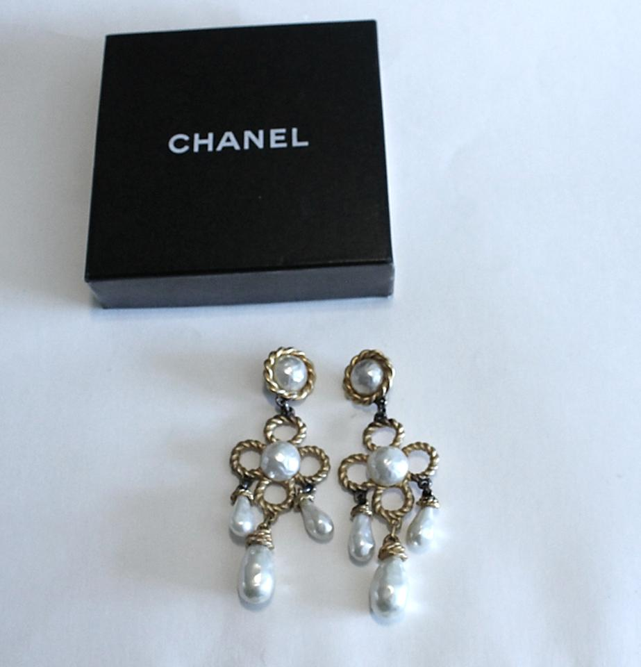 Chanel gold huge chandelier pearl tone earrings tradesy chanel huge chandelier pearl gold tone earrings 1234567 arubaitofo Gallery