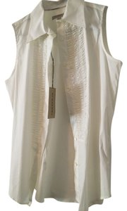 Burberry Tanktop Ruffle Button Down Shirt White