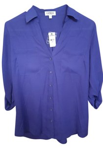 Express Portofino Shirt Blouse Convertible Button Down Shirt Purple